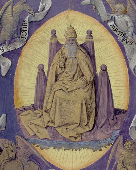 God the Father with symbols of the four Evangelists in the corners.